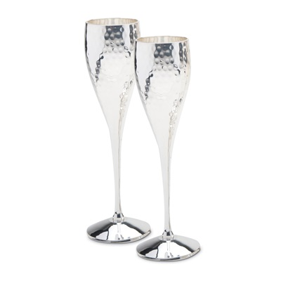 Culinary Concepts Pair of Silver Plated Champagne Goblets