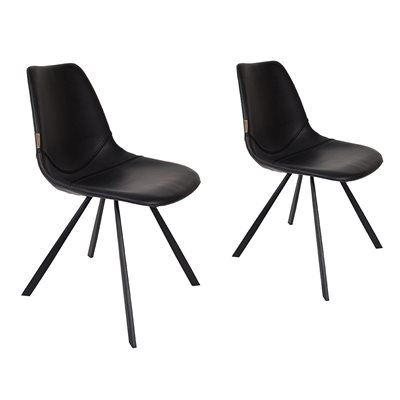 DUTCHBONE SET OF 2 FRANKY CHAIRS in Black PU Leather
