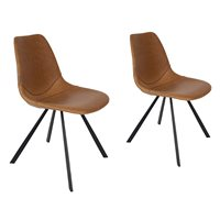 Product photograph showing Dutchbone Set Of 2 Franky Chairs - Brown