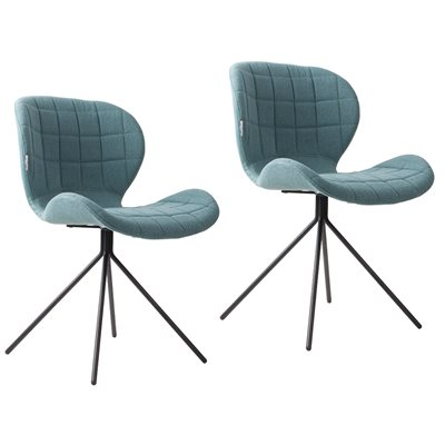 ZUIVER PAIR OF OMG UPHOLSTERED DINING CHAIRS in Blue