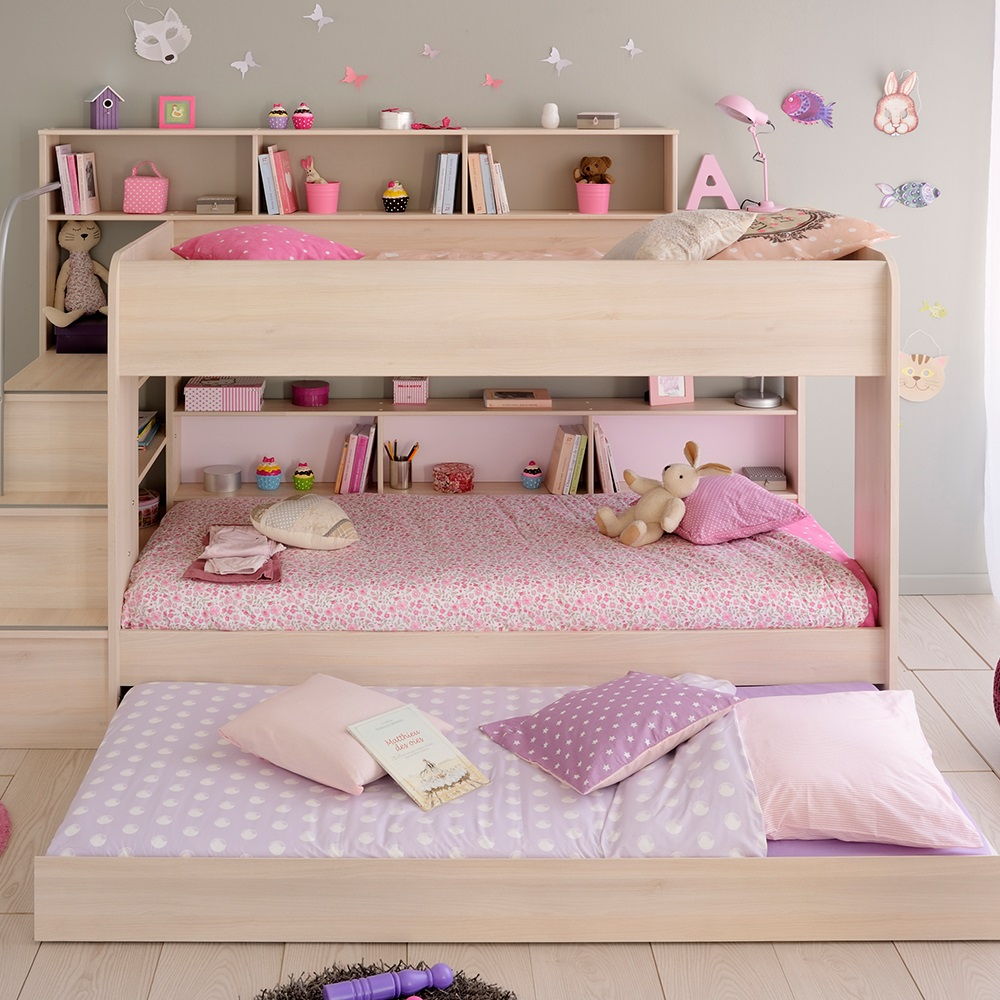 Parisot bibop kids acacia bunk bed in acacia with for Reverse loft bed