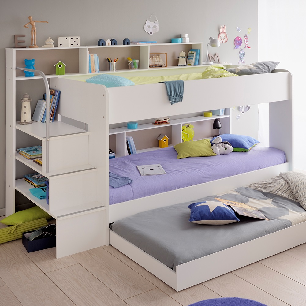 parisot kids white bibop bunk bed with reversible panels kids avenue cuckooland. Black Bedroom Furniture Sets. Home Design Ideas