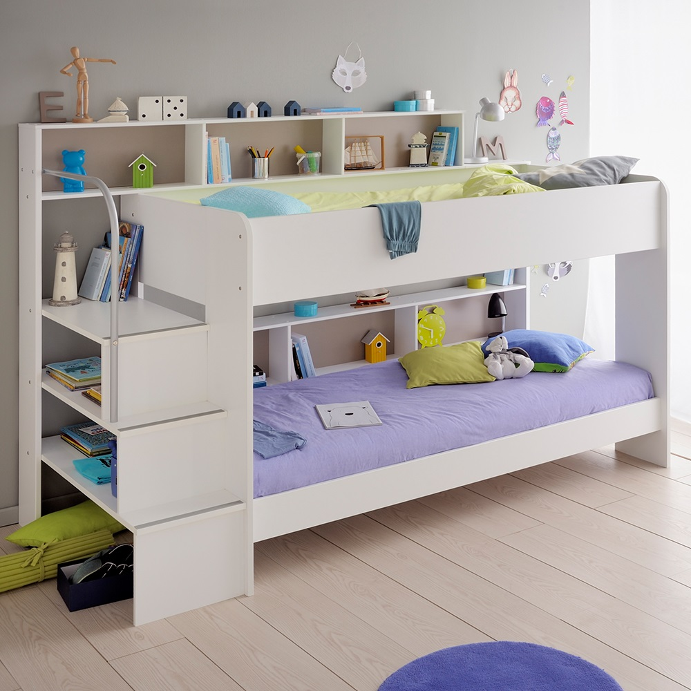 parisot kids white bibop bunk bed with reversible panels. Black Bedroom Furniture Sets. Home Design Ideas
