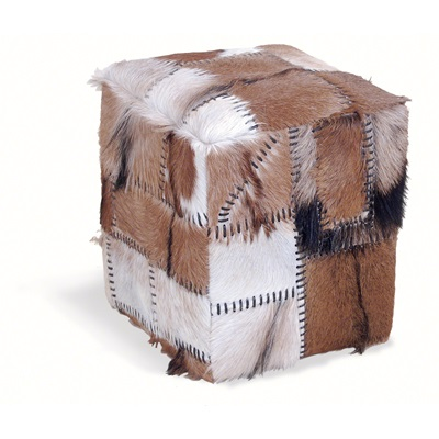 PATCHWORK COWHIDE STOOL BOX