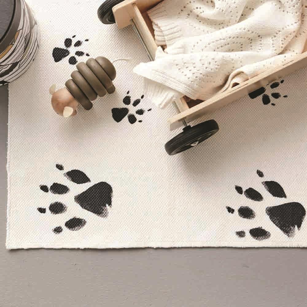 Neo Paw Print Black And White Kids Rug Kids Rugs