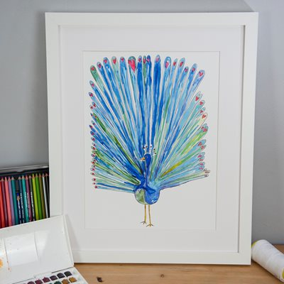 PEACOCK OF LOVE ILLUSTRATED PRINT by Sarah Lovell