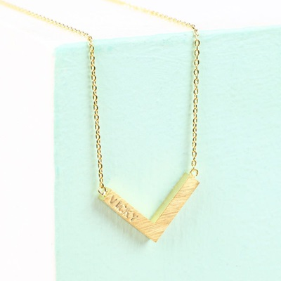 Personalised Small Chevron Necklace in Gold