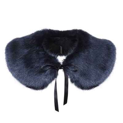 HELEN MOORE FAUX FUR PETER PAN COLLAR in Midnight Blue