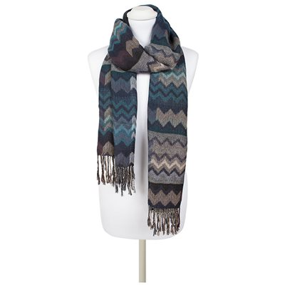PHILLIPA Zig Zag Scarf in Blue