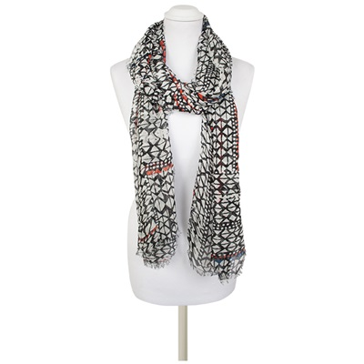 PILAR Geometric Print Scarf in Black