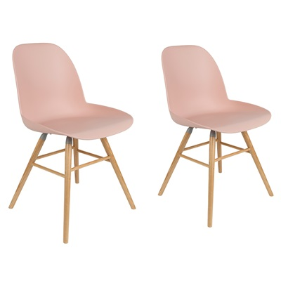 ZUIVER PAIR OF ALBERT KUIP RETRO MOULDED DINING CHAIRS in Powder Pink