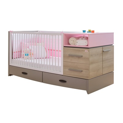 COT BED AND STORAGE in Pink Birdy Design