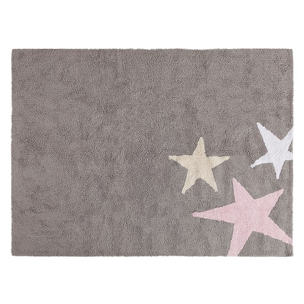 Kids Washable Rug in Grey and Pink Stars by Lorena Canals