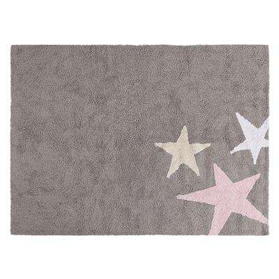 KIDS WASHABLE RUG in Grey & Pink Star Design