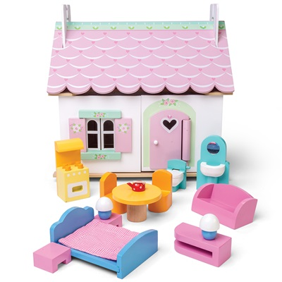 Le Toy Van Lily's Cottage Dolls House with Furniture