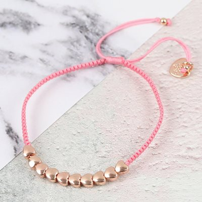PERSONALISED FRIENDSHIP BRACELET with Rose Gold Hearts