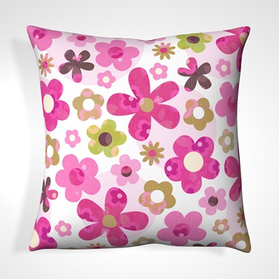 CUSHION in Retro Floral Design