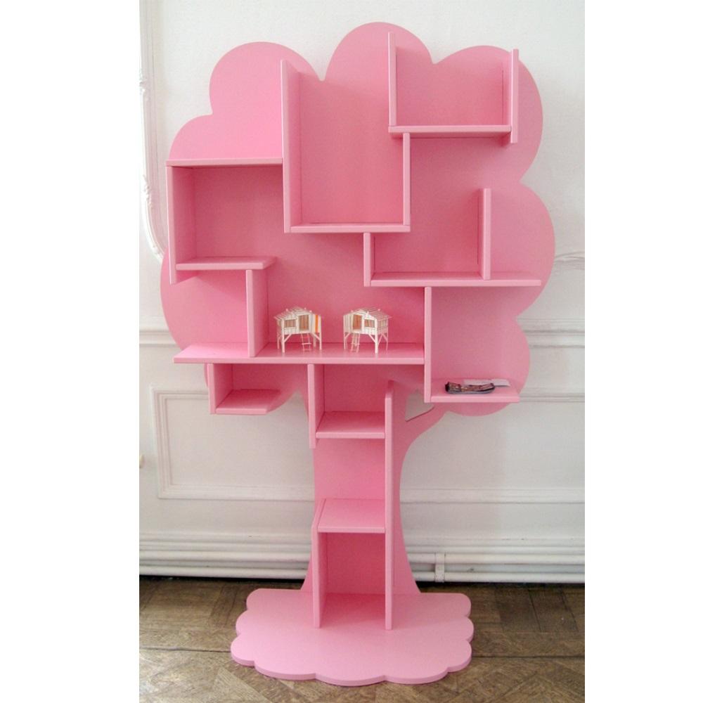 Kids small tree bookcase in white childrens furniture for Corner tree bookcase