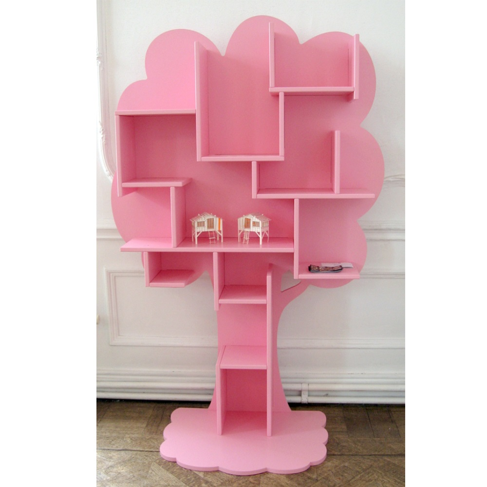 kids small tree bookcase in white  childrens furniture  cuckooland -  pinklouanetreebookcase