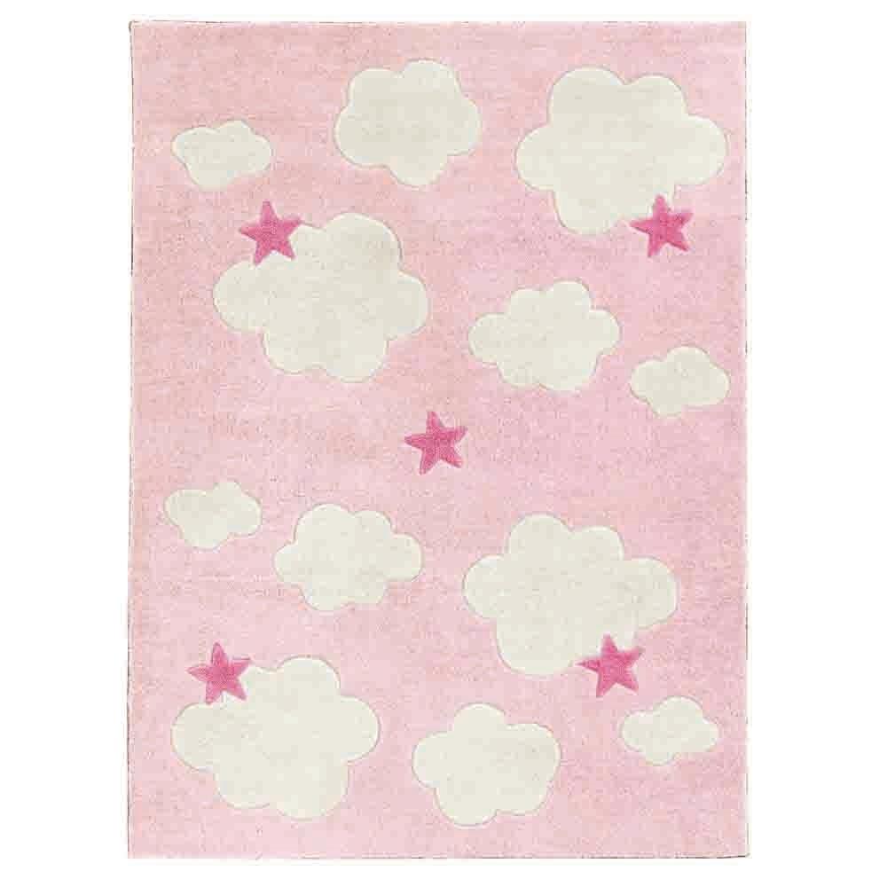 clouds stars childrens rug in pink kids concept cuckooland. Black Bedroom Furniture Sets. Home Design Ideas