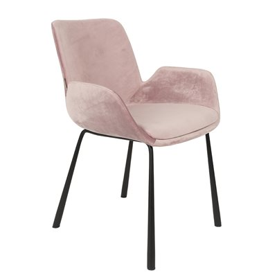 ZUIVER PAIR OF VELVET LOOK BRIT UPHOLSTERED ARMCHAIR in Pink