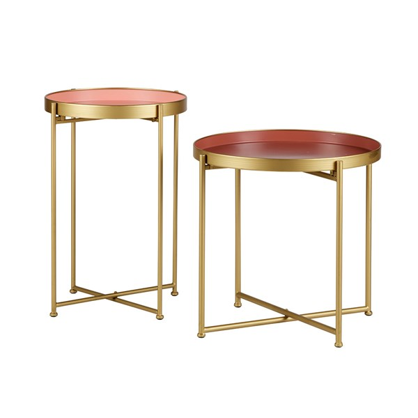 Julez Set of 2 Side Table in Antique Brass