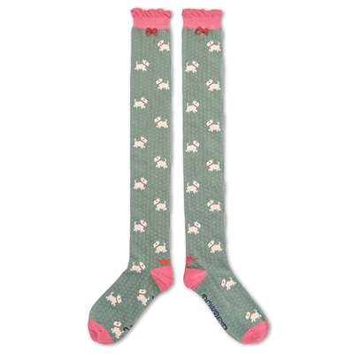 POWDER WESTIE DOG LONG SOCKS in Moss and Pink