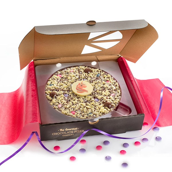 Unicorn Chocolate Pizza from The Gourmet Chocolate Pizza Company