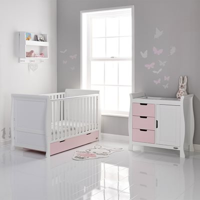 OBABY STAMFORD SLEIGH COT BED 2 PIECE NURSERY SET in Eton Mess and White with Free Mattress