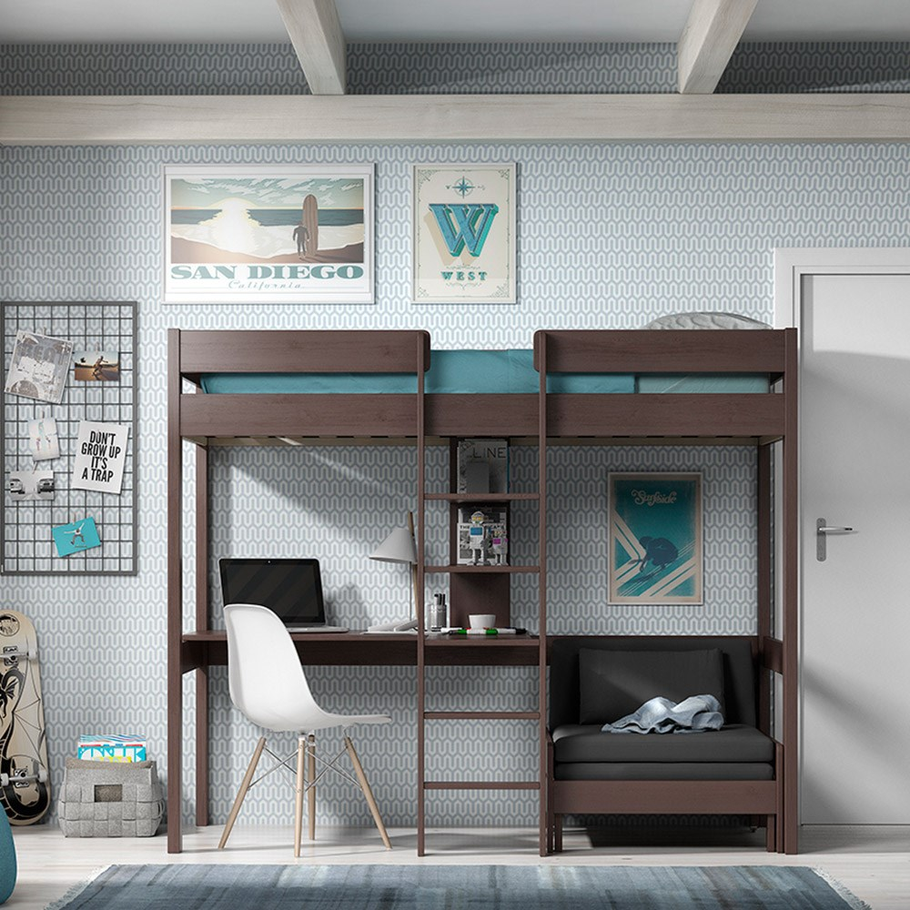 Fabulous Pino Kids High Sleeper With Sofa Bed In Taupe Forskolin Free Trial Chair Design Images Forskolin Free Trialorg