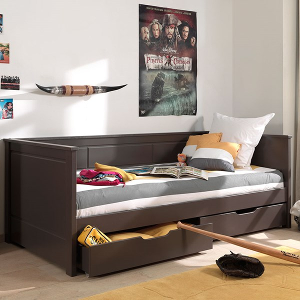 Taupe Day Bed with Storage Drawers