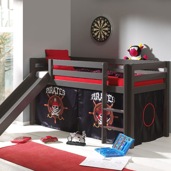 Pino Kids Mid Sleeper with Slide & Curtain