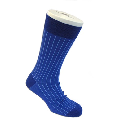 DESIGNER SOCKS in Bright Blue Pinstripe Design