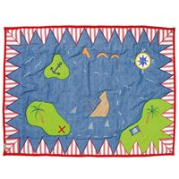 PIRATE SHACK Floor Quilt by Win Green  Small