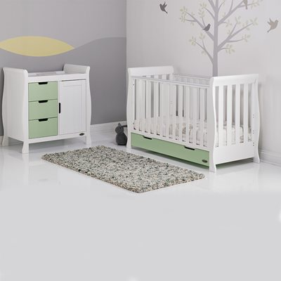STAMFORD MINI COT BED 2 PIECE NURSERY SET in Pistachio Green and White by Obaby
