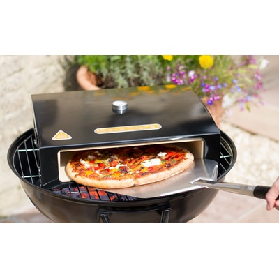 "BAKERSTONE 12"" PIZZA STONE BOX in Black Enamelled Steel"