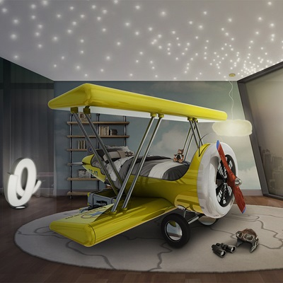 SKY B PLANE JUNIOR BED in Yellow
