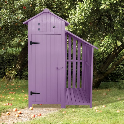 TOOL SHED WITH LOG STORE in Plum