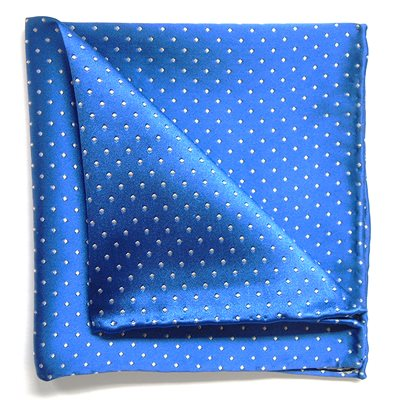 WOVEN SILK POCKET SQUARE in Blue and White Spot Design