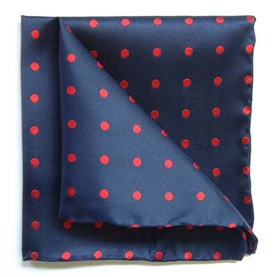 WOVEN SILK POCKET SQUARE in Navy and Red Spot Design