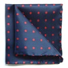 Woven silk pocket square in Navy & Red