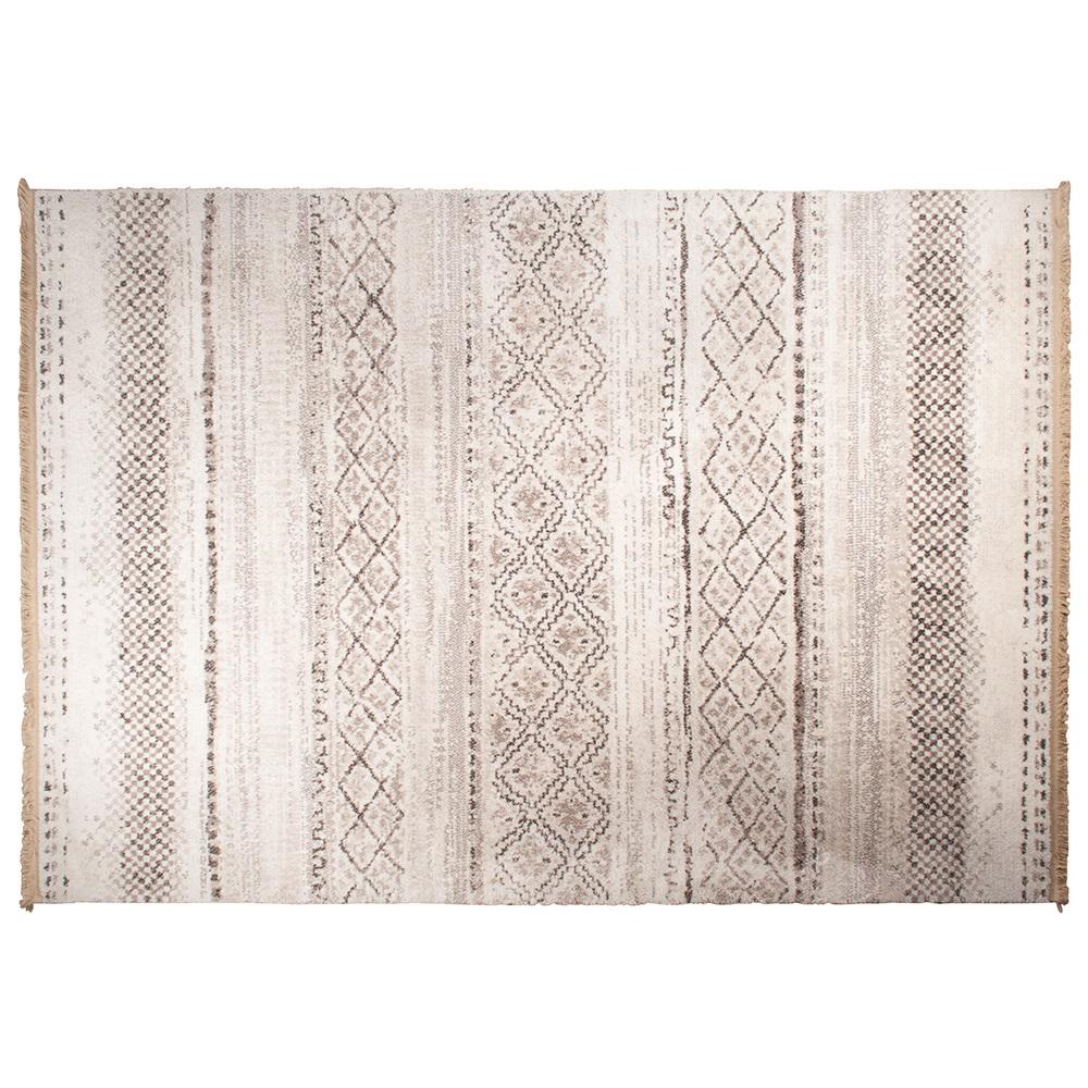 Polar Aztec Pattern Rug In Stone White