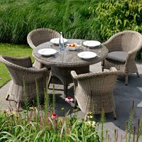 Product photograph showing Alder Rattan Dining Table Chairs - 150cm Table And 6 Chairs