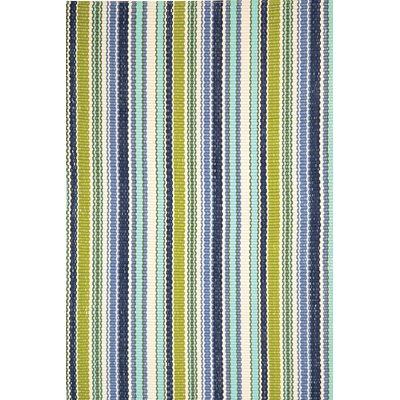 INDOOR OUTDOOR POND STRIPE RUG in Green & Blue