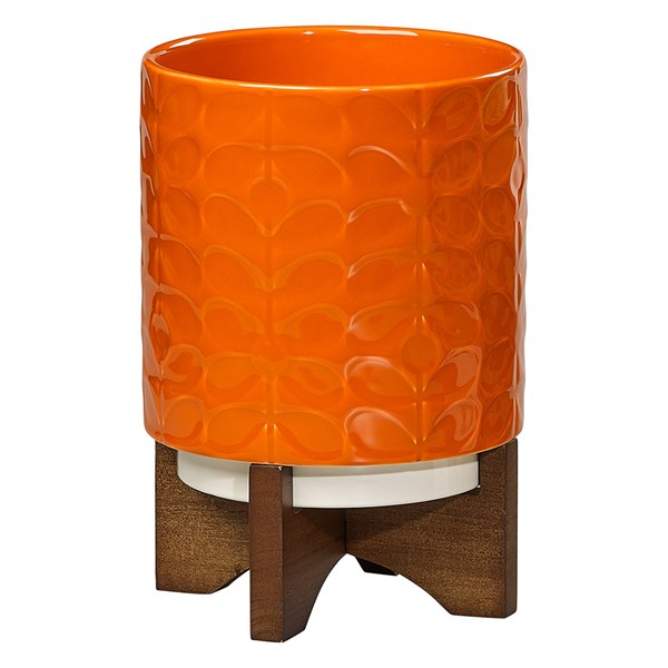 Orla Kiely Ceramic Plant Pot with Stand in 60s Stem Poppy