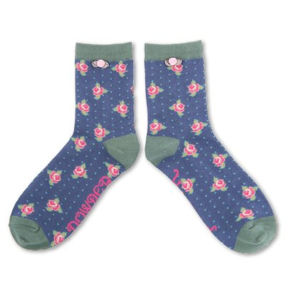 POWDER ROSEBUD ANKLE SOCKS in Navy Blue