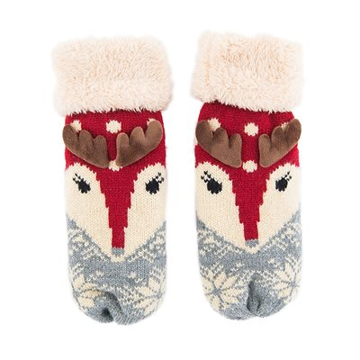 POWDER COSY REINDEER MITTENS in Berry