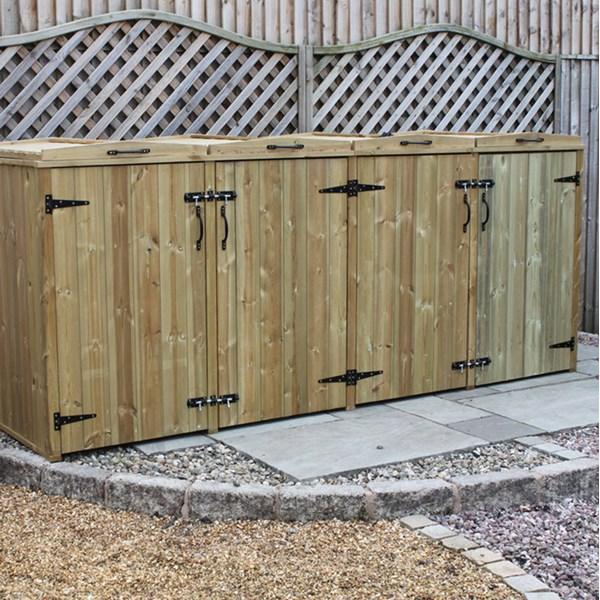 Quad Wooden Wheelie Bin Storage