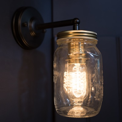 VINTAGE PRESERVE JAR WALL LIGHT