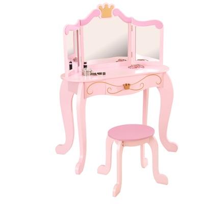 Kids Vanity Table And Stool In Princess Design Kid Kraft